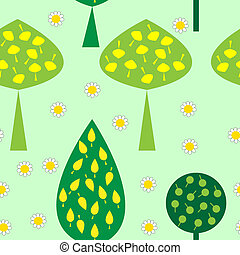 Seamless pattern with trees daisies
