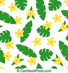 Seamless pattern with tropic leaves and flowers on white background.