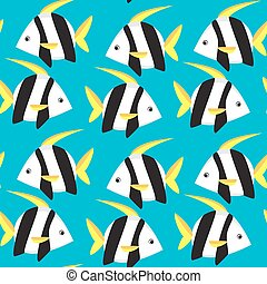 Seamless pattern with tropical fish