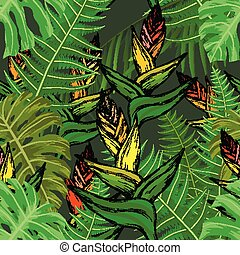 Seamless pattern with tropical flowers and fern leaves