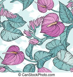 Seamless pattern with Tropical leaves and Anthurium flowers, jungle plants.