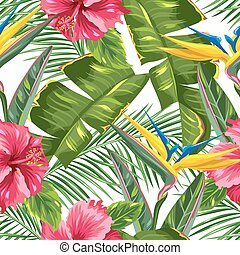 Seamless pattern with tropical leaves and flowers. Palms...