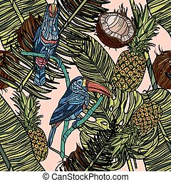 Seamless pattern with tropical leaves, fruits and toucans.