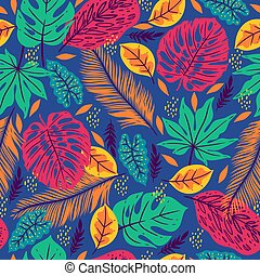 Seamless pattern with tropical leaves on a blue background. Vector graphics.