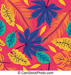 Seamless pattern with tropical leaves on a pink background. Vector graphics.