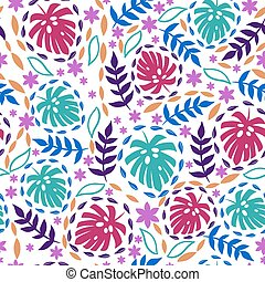 Seamless pattern with tropical leaves on a white background. Vector graphics.