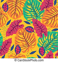 Seamless pattern with tropical leaves on yellow background. Vector graphics.