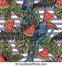 Seamless pattern with tropical leaves, watermelon slices and toucans.
