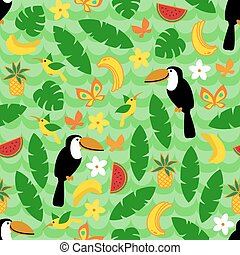 Seamless pattern with tropical nature on green wave background.