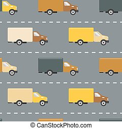 Seamless pattern with trucks on the road