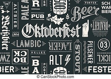 Seamless pattern with types of beer and hand drawn lettering