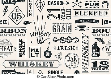 Seamless pattern with types of whiskey