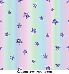 Seamless pattern with ultraviolet, purple stars on holographic b