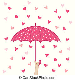 seamless pattern with umbrella and hearts rain