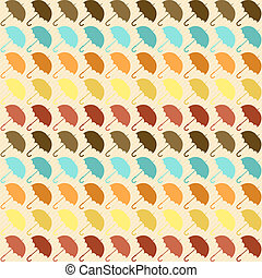 Seamless pattern with umbrellas in retro style.
