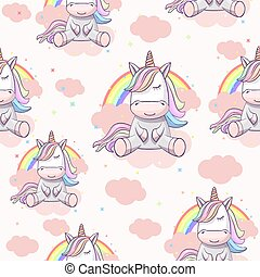 Seamless pattern with unicorn on the clouds with a rainbow.