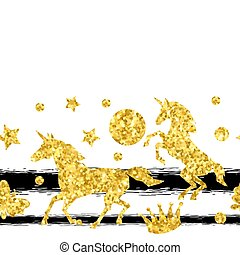 Seamless pattern with unicorns and gold glitter texture