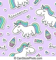 seamless pattern with unicorns