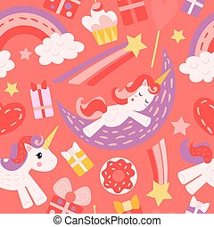 Seamless pattern with unicorns. Red and pink colors. A unicorn sleeps on the moon, a unicorn runs, a star flies, gifts and sweets. Vector background with cute magic horses.