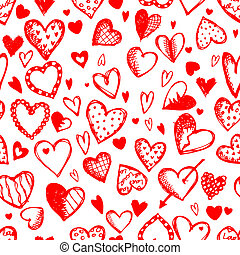 Seamless pattern with valentine hearts, sketch drawing for your design