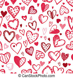 Seamless pattern with valentine hearts, sketch drawing for...