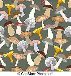 seamless pattern with varicoloured edible mushrooms.Vector ...