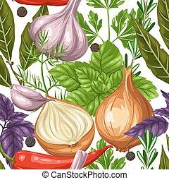 Seamless pattern with various herbs and spices.