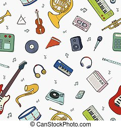 Seamless pattern with various musical instruments, symbols, objects and elements.