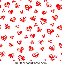 Seamless pattern with various red and white hearts - ...