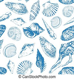 Seamless pattern with various sea shells