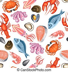 Seamless pattern with various seafood. Illustration of fish,...