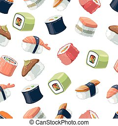 Seamless Pattern with Vector picture set of Sushi rolls food