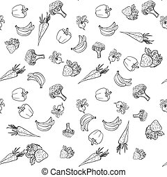 Seamless pattern with vegetables and fruit