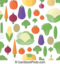 Seamless pattern with vegetables and fruits. Vector background