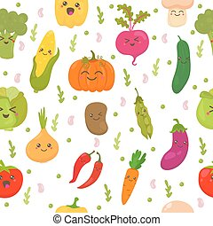 Seamless pattern with vegetables. Cute background. Happy vegetables