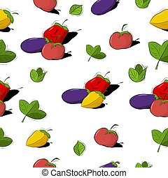 Seamless pattern with vegetables in a flat style