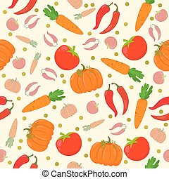 Seamless pattern with vegetables on a white background