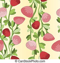 Seamless pattern with vertical lines of red roses