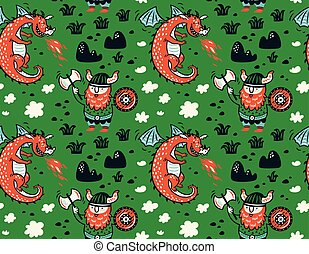 Seamless pattern with viking for design fabric, backgrounds,...