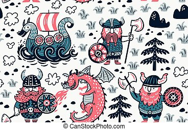 Seamless pattern with vikings for design fabric,...