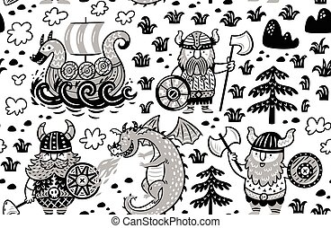 Seamless pattern with vikings in monochrome style