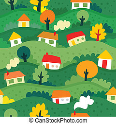 seamless pattern with village and houses - vector...