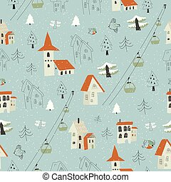 Seamless pattern with village in the forest on a background of mountains