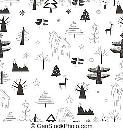 Seamless pattern with village in the forest on a white background