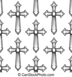 Seamless pattern with vintage catholic crosses