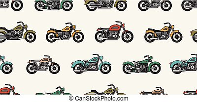 Seamless pattern with vintage motorcycles