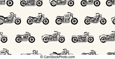 Seamless pattern with vintage motorcycles silhouettes