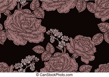 Seamless pattern with vintage rose flowers. Vector illustration for fabrics, gift packaging, textiles and card design