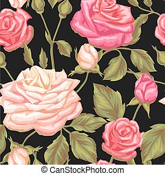 Seamless pattern with vintage roses. Decorative retro...