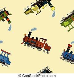 Seamless pattern with vintage steam locomotives in cartoon style on beige background.